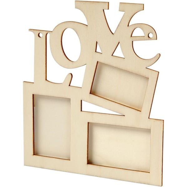 Cadre en bois 3 photos - Love - 19,7 x 16 cm - Photo n°1