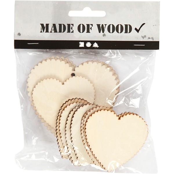 Lot d'Etiquettes coeur en bois à décorer - 5,1 à 7,5 cm - 12 pcs - Photo n°2