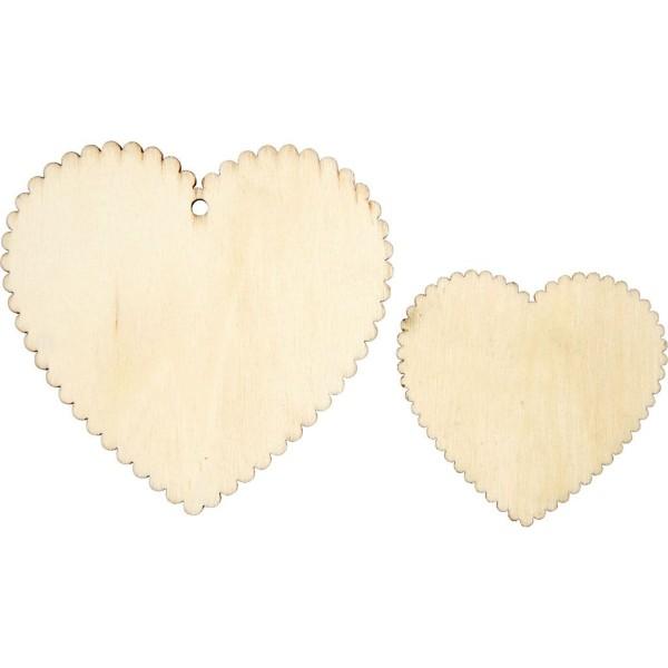 Lot d'Etiquettes coeur en bois à décorer - 5,1 à 7,5 cm - 12 pcs - Photo n°1