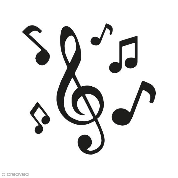 Kit Tampon Clear Et Bloc Acrylique Notes Musique 4 5 X 4 5 Cm