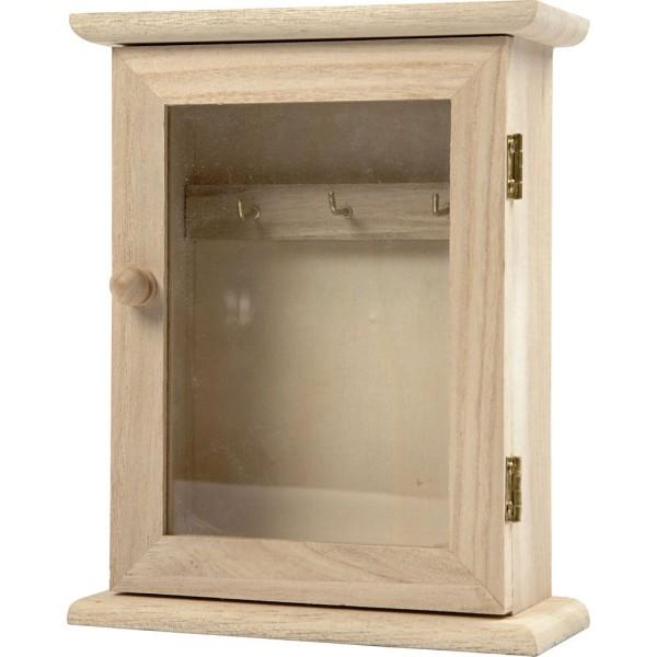 Armoire à clés en bois et porte vitrée - 18 x 6 x 14 cm - Photo n°1