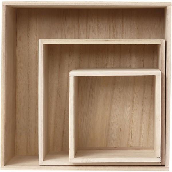 Set de boîtes carrées en bois - 15 à 28 cm - 3 pcs - Photo n°1