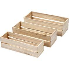 Lot de caisses en bois - 22 à 25 cm - 3 pièces