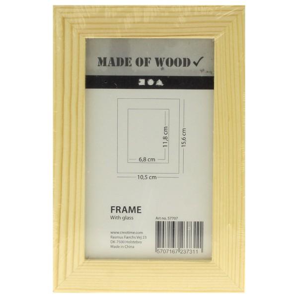 Cadre photo en bois à décorer avec vitre  - 10 ,5 x 15,6 cm - Photo n°1