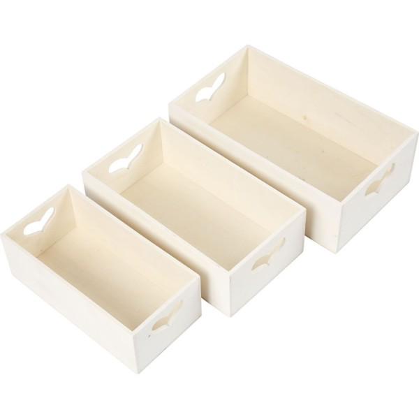 Set de boîtes de rangement en bois - Coeur - 15,8 x 20,5 cm - 3 pcs - Photo n°2