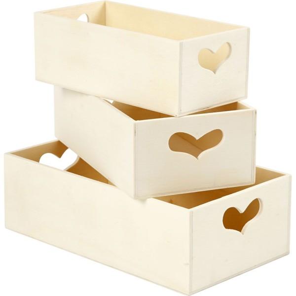 Set de boîtes de rangement en bois - Coeur - 15,8 x 20,5 cm - 3 pcs - Photo n°1