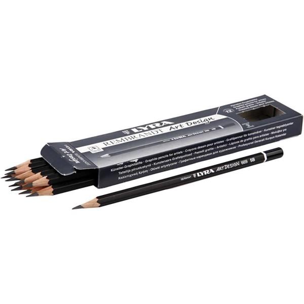 Crayons Gris Art Design, D: 6,9 Mm, Mine: 1,8 Mm, Mine 6B, 12Pièces - Photo n°1
