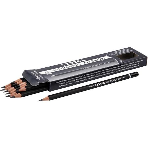 Crayons Gris Art Design, D: 6,9 Mm, Mine: 1,8 Mm, Mine 4B, 12Pièces - Photo n°1
