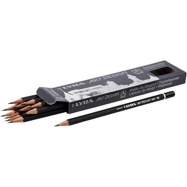 Crayons Gris Art Design, D: 6,9 Mm, Mine: 1,8 Mm, Mine 2B, 12Pièces - Photo n°1