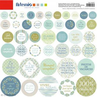 Stickers ronds Artemio - Nature - 1 planche de 30,5 x 30,5 cm