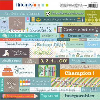Stickers Artemio - P'tit mec - 1 planche de 30,5 x 30,5 cm