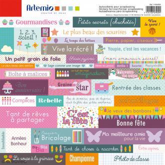 Stickers Artemio - P'tite nana - 1 planche de 30,5 x 30,5 cm