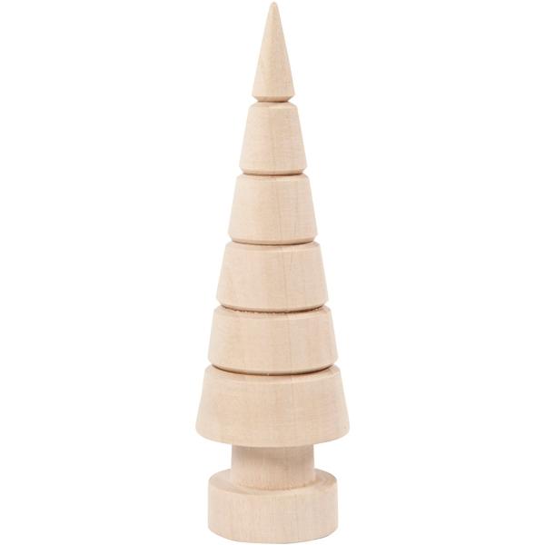 Sapin en bois à poser - Cône pointu - 18 cm - Photo n°1