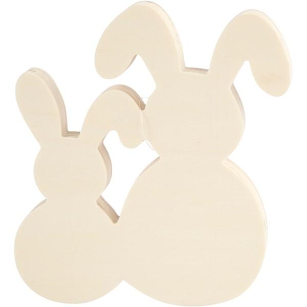 Assortiment de deux lapins en bois - 16 x 17 cm - 1 pce - Photo n°1