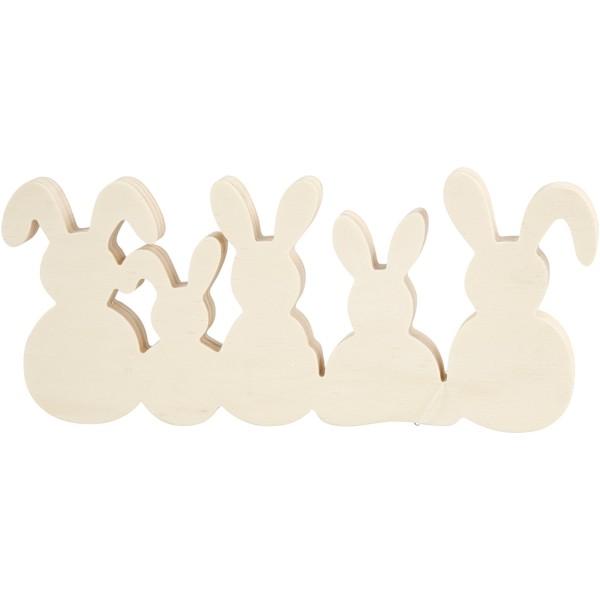 Assortiment de lapins en bois - 30 x 11 cm - 5 pcs - Photo n°1