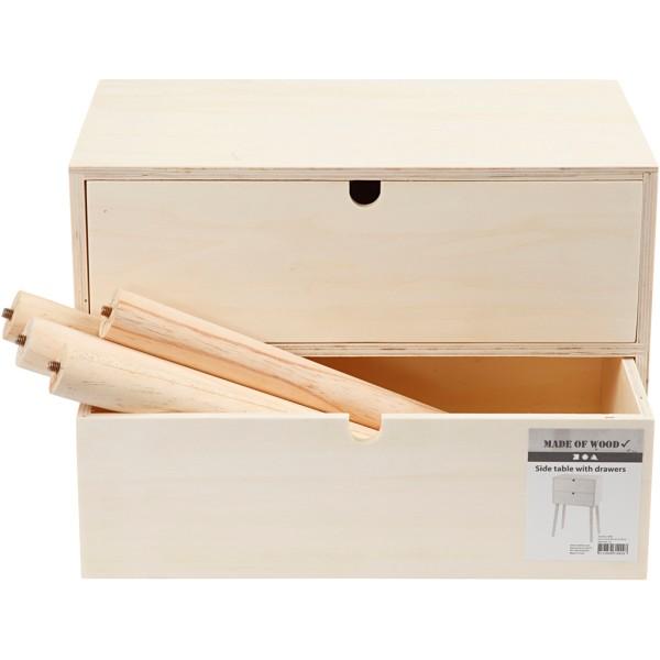 Meuble tiroir sur pieds en bois à décorer - 61 x 39 x 24 cm - Photo n°2