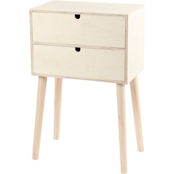 Meuble tiroir sur pieds en bois à décorer - 61 x 39 x 24 cm - Photo n°1