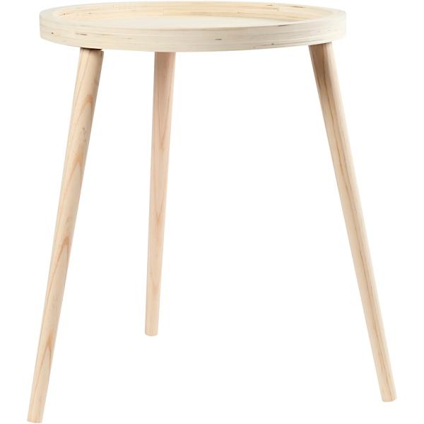 Table d'appoint - Plateau rond et 3 pied - 40 x 48 cm - Photo n°1