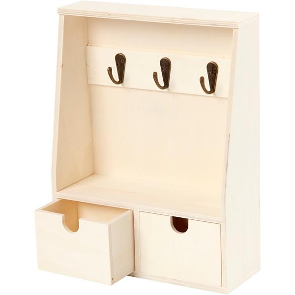 Coffre à clés 2 tiroirs en bois - 22 x 28,5 cm - Photo n°1
