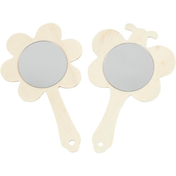 Lot de miroir à main en bois - Fleur et papillon - 9 x 13,9 cm - 20 pcs - Photo n°1