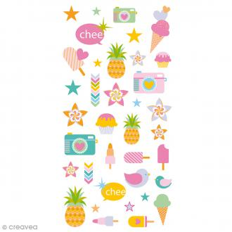 Stickers Puffies 13,5 x 8 cm - Eté - 36 pcs