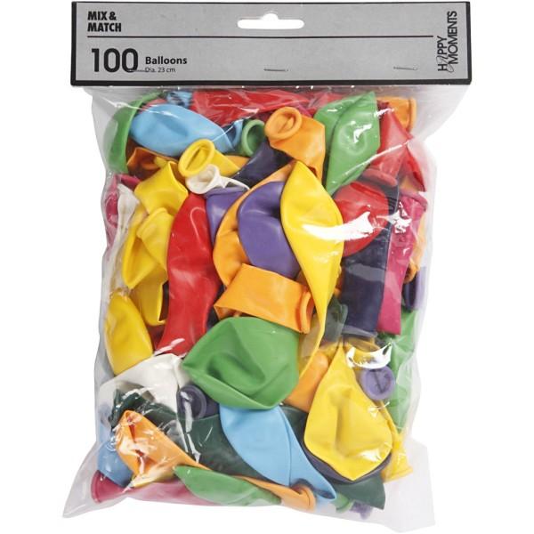 Ballons de baudruche 23 cm -Multicolore - 100 pcs - Photo n°2