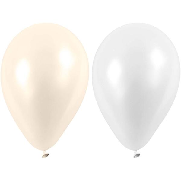 Assortiment de ballons blancs et nacrés 23 cm - 10 pcs - Photo n°1