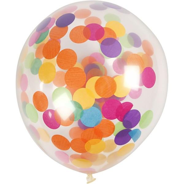 Ballons transparents avec confettis multicolores - 4 pcs - Photo n°1