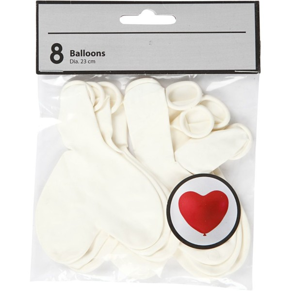 Ballon coeur Blanc - 8 pcs - Photo n°2