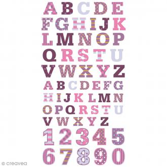 Stickers Puffies 13,5 x 8 cm - Alphabet P'tite nana - 62 pcs