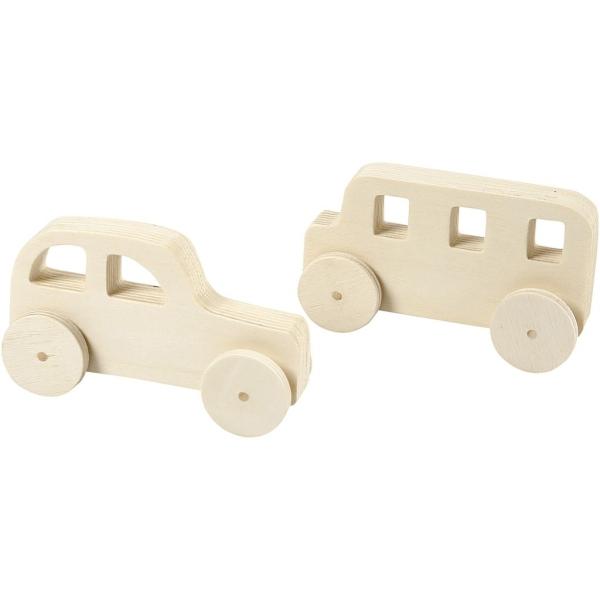 Set de voitures en bois à décorer - 12 cm - 2 pcs - Photo n°1