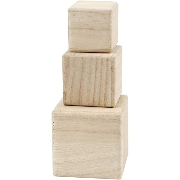 Lot de Cubes en bois à décorer - 5 à 8 cm - Photo n°4