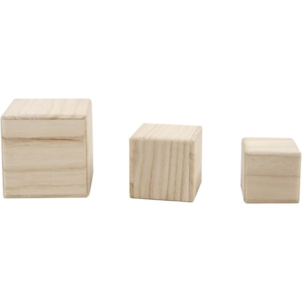 Lot de Cubes en bois à décorer - 5 à 8 cm - Photo n°1