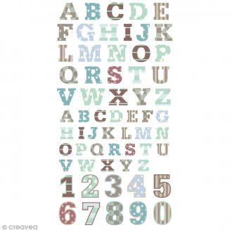 Stickers Puffies 13,5 x 8 cm - Alphabet P'tit mec - 62 pcs