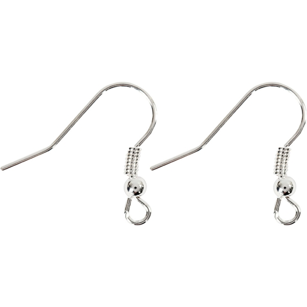 Crochets d'oreille 18 mm - Argenté - 10 pcs - Photo n°1