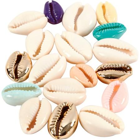 Breloque coquillage cauri - 20 mm - Couleurs assorties - 75 pcs