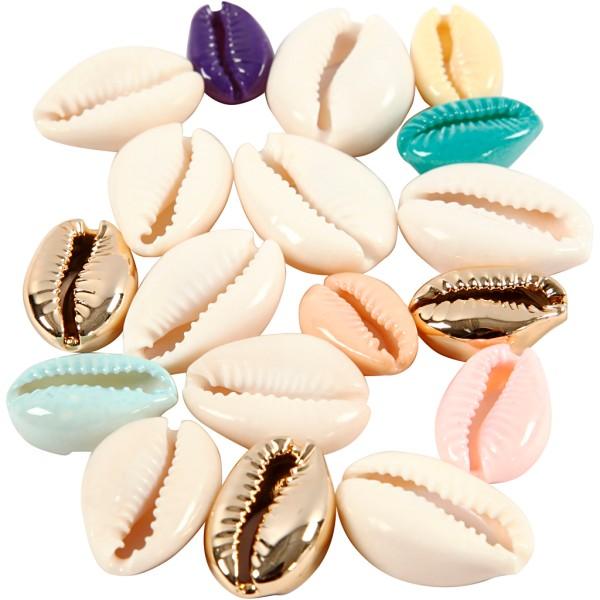 Breloque coquillage cauri - 20 mm - Couleurs assorties - 75 pcs - Photo n°1