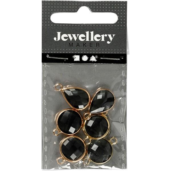 Assortiment de pendentif en perle à facettes - Noir - 6 pcs - Photo n°2