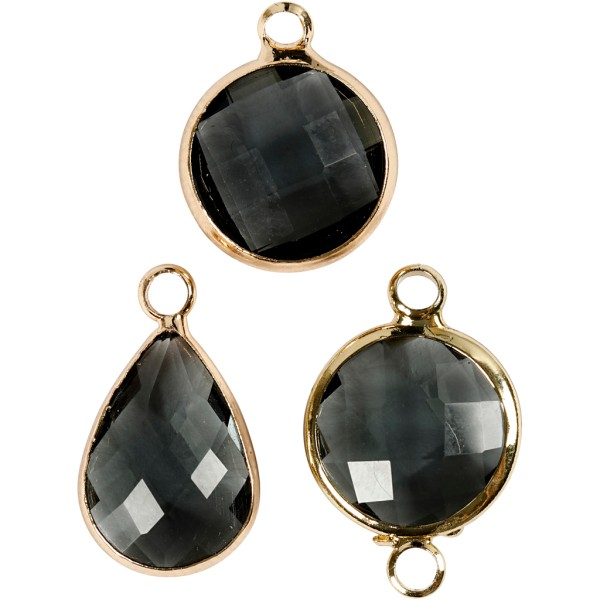 Assortiment de pendentif en perle à facettes - Noir - 6 pcs - Photo n°1
