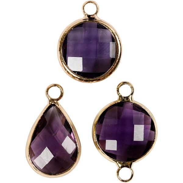 Assortiment de pendentif à facettes - Violet - 6 pcs - Photo n°1