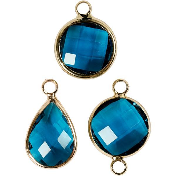 Assortiment de pendentif à facettes - Bleu - 6 pcs - Photo n°1
