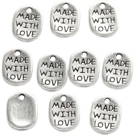 Lot de pendentifs Made with love - Argenté - 12 mm - 10 pcs