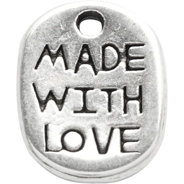 Lot de pendentifs Made with love - Argenté - 12 mm - 10 pcs - Photo n°3