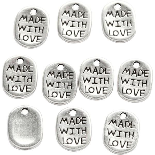 Lot de pendentifs Made with love - Argenté - 12 mm - 10 pcs - Photo n°1