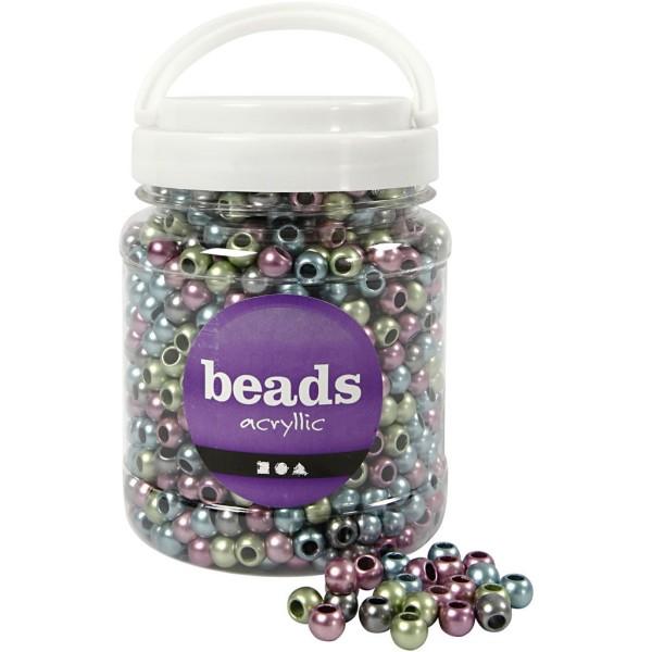 Perles pony 10 mm - Assortiment de couleurs métalliques - 1000 pcs environ - Photo n°1