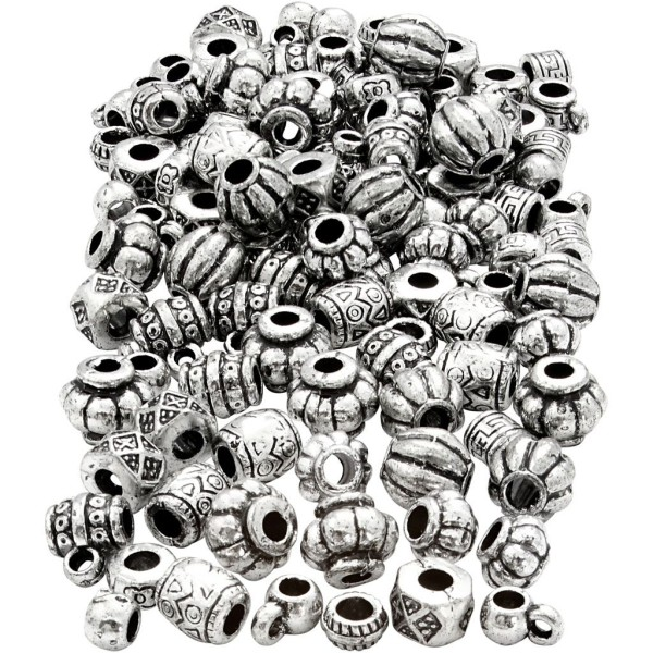 Assortiment de perles en plastique effet métal antique - De 7 à 11 mm - 400 pcs environ - Photo n°1
