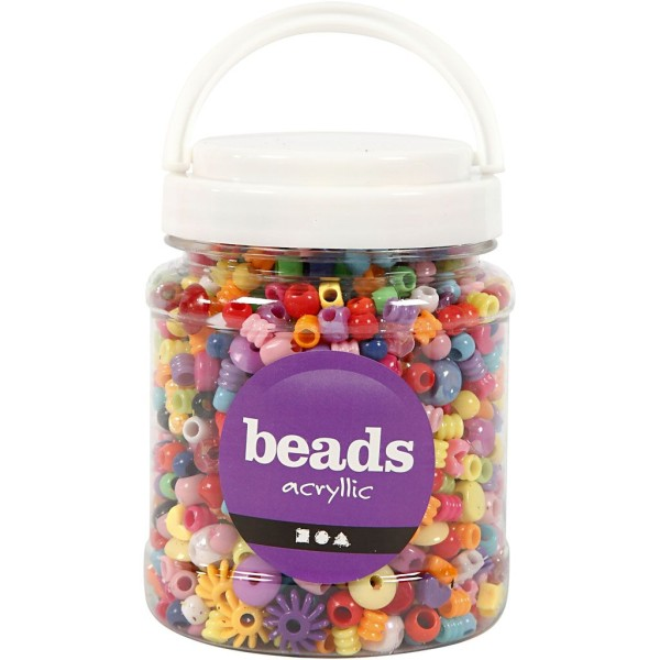 Assortiment de perles plastique - De 6 à 20 mm - Env. 1175 pcs - Photo n°2