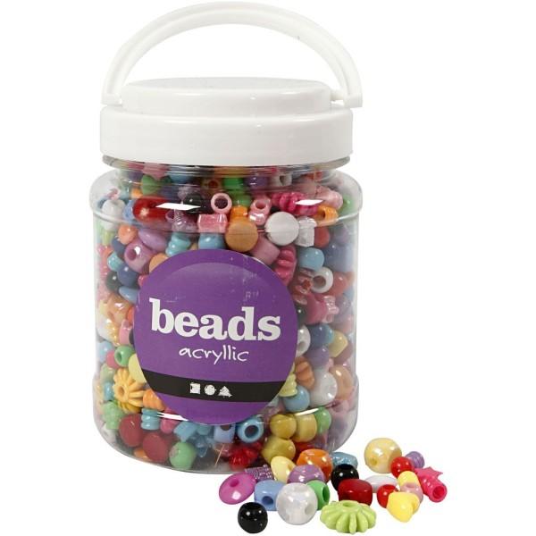 Assortiment de perles plastique - De 6 à 20 mm - Env. 1175 pcs - Photo n°1