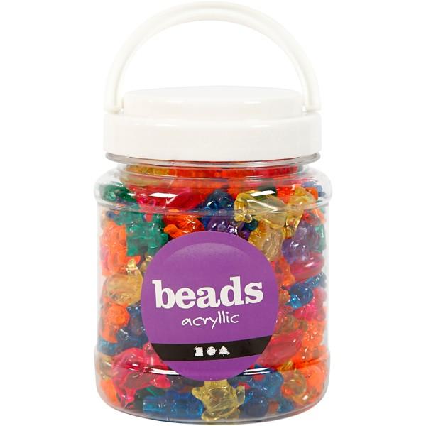 Assortiment de perles en plastique multicolores - Animaux - 25 mm - Environ 220 pcs - Photo n°2