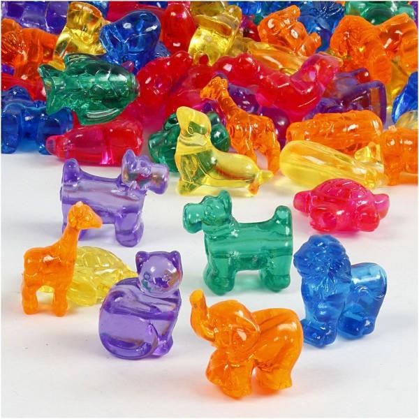 Assortiment de perles en plastique multicolores - Animaux - 25 mm - Environ 220 pcs - Photo n°1